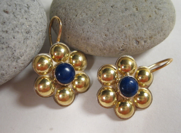 18k Gold Multi Dome Earrings with Lapis Lazuli