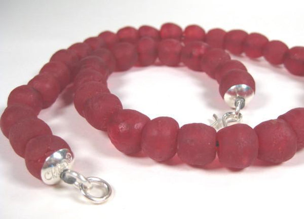 Recycled Red Glass Bead Necklace-Elizabeth Prior