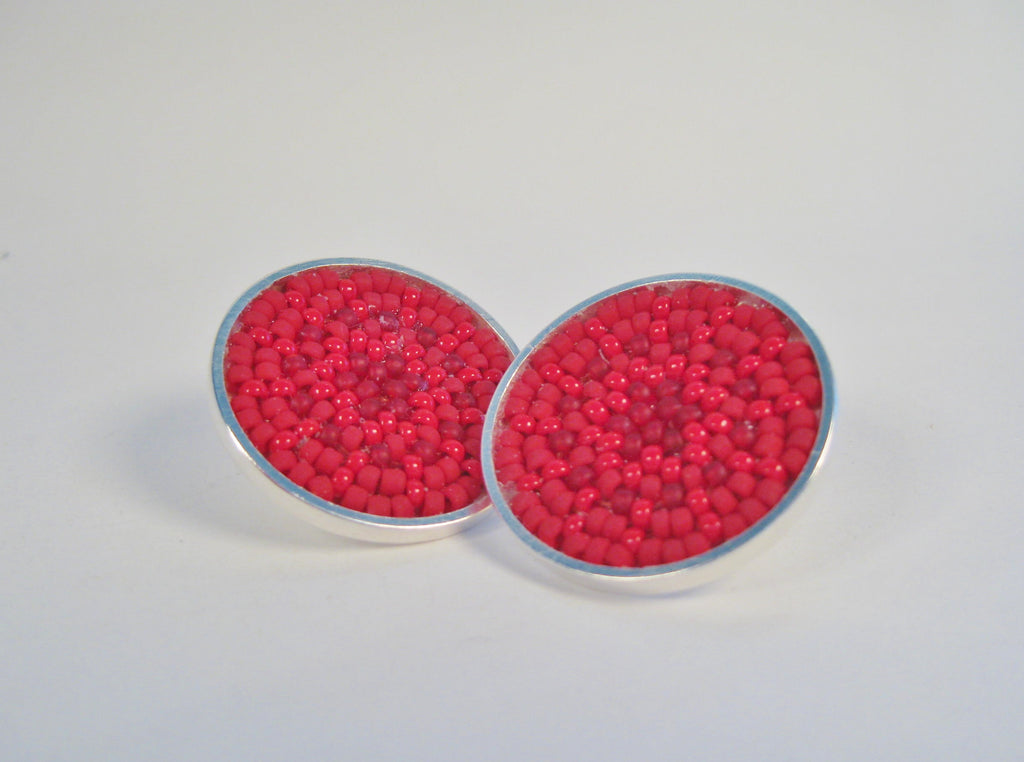 Red Woven Japanese Seed Bead Earrings