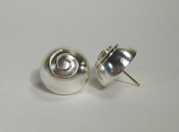Silver Dome Spiral Earrings-Elizabeth Prior