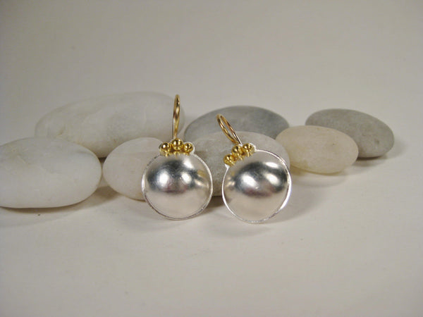 Sterling Silver Dome Earrings with 22K Gold Beads