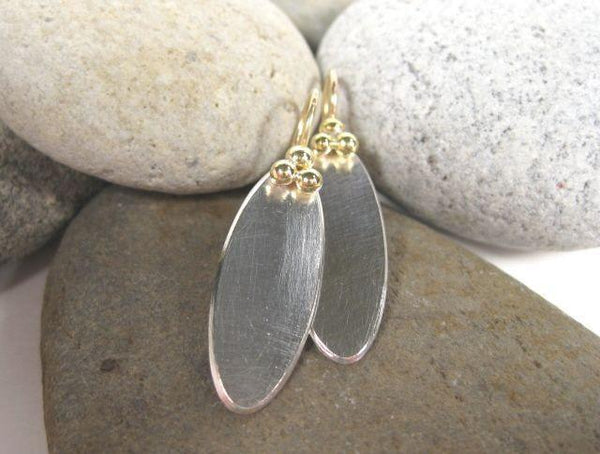 Sterling Silver and 18K Gold Oval Earrings-Elizabeth Prior