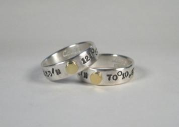 Sterling Silver Band Rings - Latitude & Longitude-Elizabeth Prior