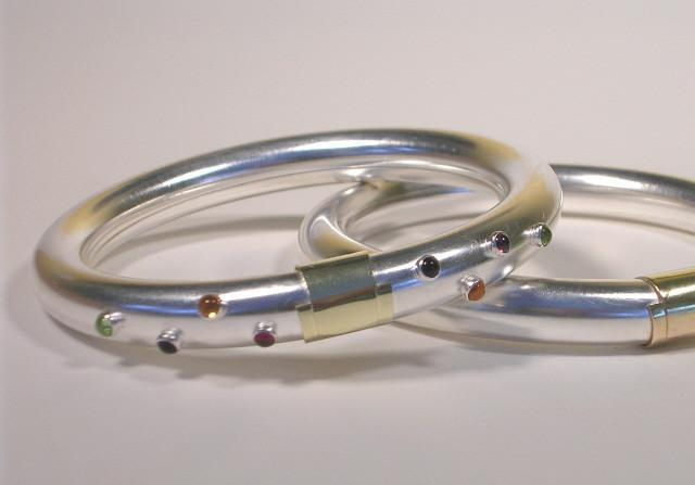 Sterling Silver Bangle Bracelet with Gold Wrap and Cabochons-Elizabeth Prior