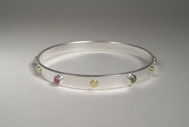 Sterling Silver Bangle with 18k and cabochons-Elizabeth Prior