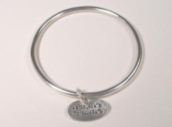 Sterling Silver Bangle w/Lat and Long tag-Elizabeth Prior
