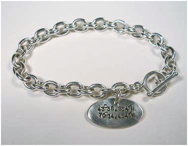 Sterling Silver Chain Bracelet w/ lat and long tag-Elizabeth Prior
