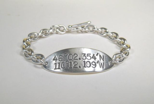 Sterling Silver ID Bracelet w/ large text lat and long-Elizabeth Prior