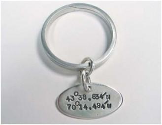 Sterling Silver Key Ring w/ Lat and Long-Elizabeth Prior
