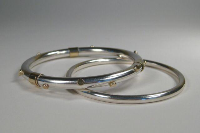 Sterling Silver with 18K Gold Dots Bangle Bracelet-Elizabeth Prior