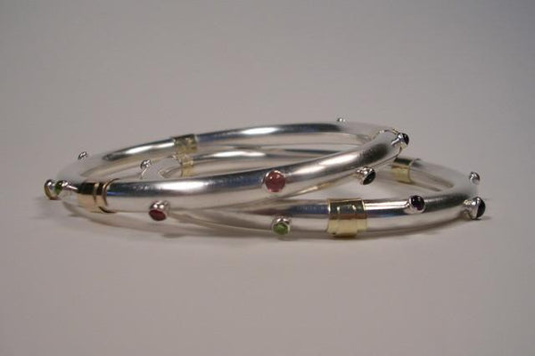 Sterling Silver with Gold Wrap and Cabochons Bangle Bracelet-Elizabeth Prior
