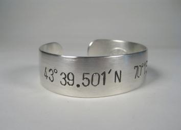 Women's Sterling Silver Cuff Bracelet w/ Latitude and Longitude-Elizabeth Prior