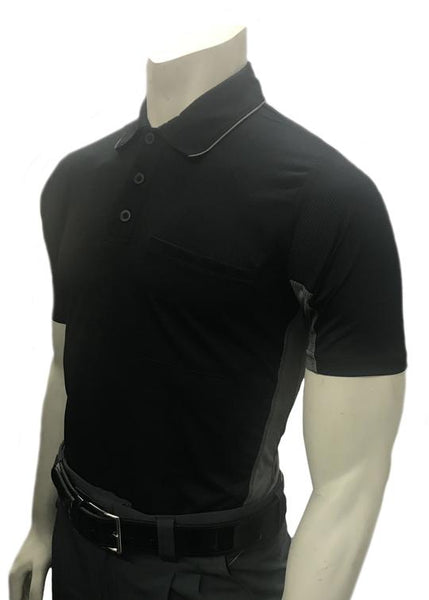 "BBS314 - ""BODY FLEX"" Smitty ""Major League"" Style Short Sleeve Umpire Shirts - Available in Black/Charcoal Grey, Sky Blue/Black, Charcoal Grey/Black"
