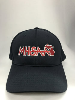 HT308MI - Smitty - 8 Stitch Navy Flex Fit Umpire Hat with MHSAA Embroidered Logo