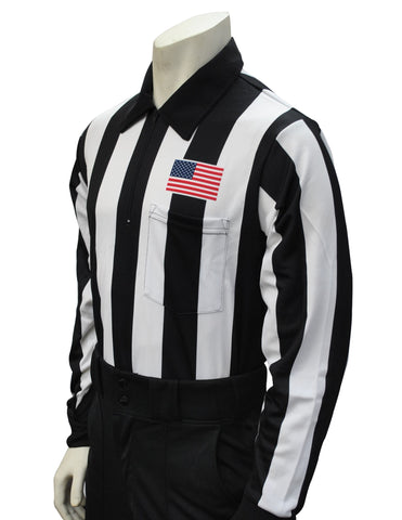 USA730- Smitty USA -Dye Sub Foul Weather Water Resistant Football Long Sleeve Shirt w/ Flag over Pocket