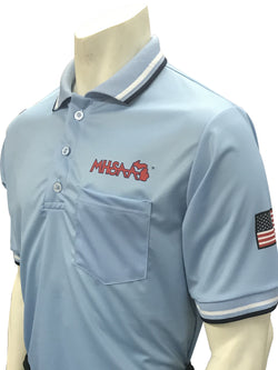 USA300MI PB-Smitty USA - Dye Sub Michigan Baseball Short Sleeve Powder Blue Shirt