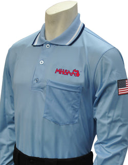 USA301MI PB- Smitty USA - Dye Sub Michigan Baseball Long Sleeve Powder Blue Shirt