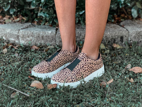 Moody Leopard Tan and Black Suede Sneakers