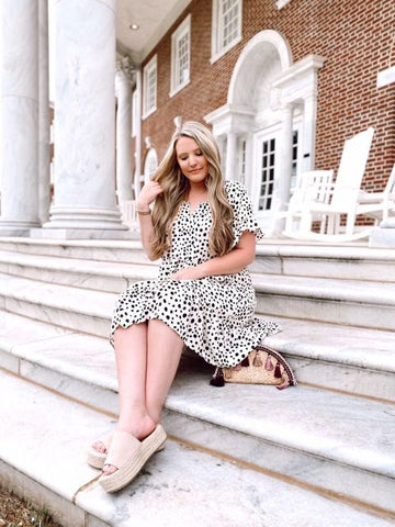 LOVED | Dalmatian Print Ruffle Dress