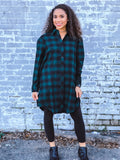 HUNTER GREEN COTTON BUTTON UP LONG SLEEVE CHECKER PLAID FLANNEL TUNIC BLOUSE TOP MINI DRESS