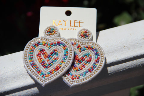 Beaded Heart Statement Earrings