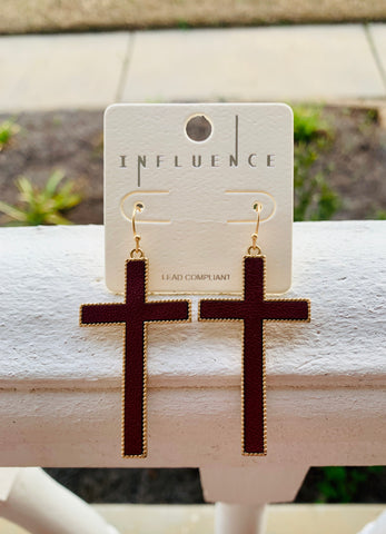 SAVED | Leather Cross Earrings