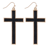 Cross Earrings - Leather