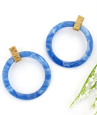Blue Marble Hoop Earrings