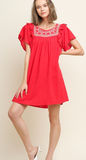 PRESENT | Red Floral Embroidered Babydoll Dress