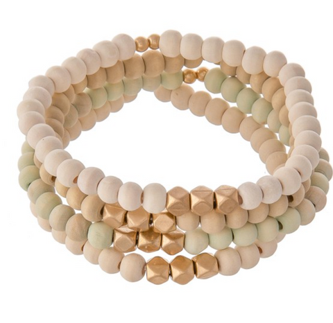 White Wood Beaded Bracelet