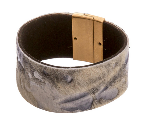 Leather Faux Fur Magnetic Bracelet