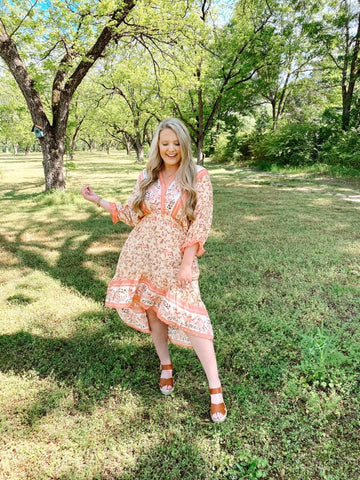 KINDNESS | Peach Floral Hi-Low Maxi Dress