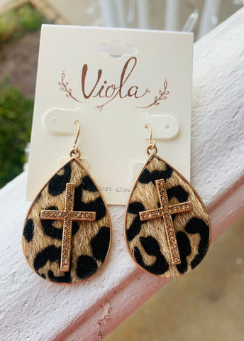 Cross Leopard Teardrop Earrings
