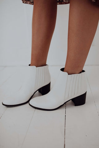 Qupid White Ankle Booties - Topanga