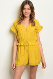 Yellow Feather Romper