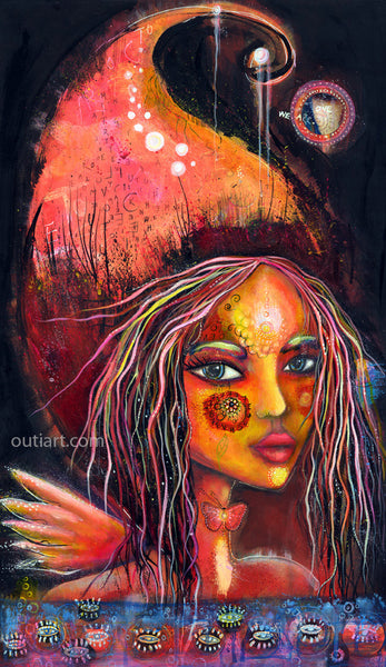 Butterfly Girl, print on wood