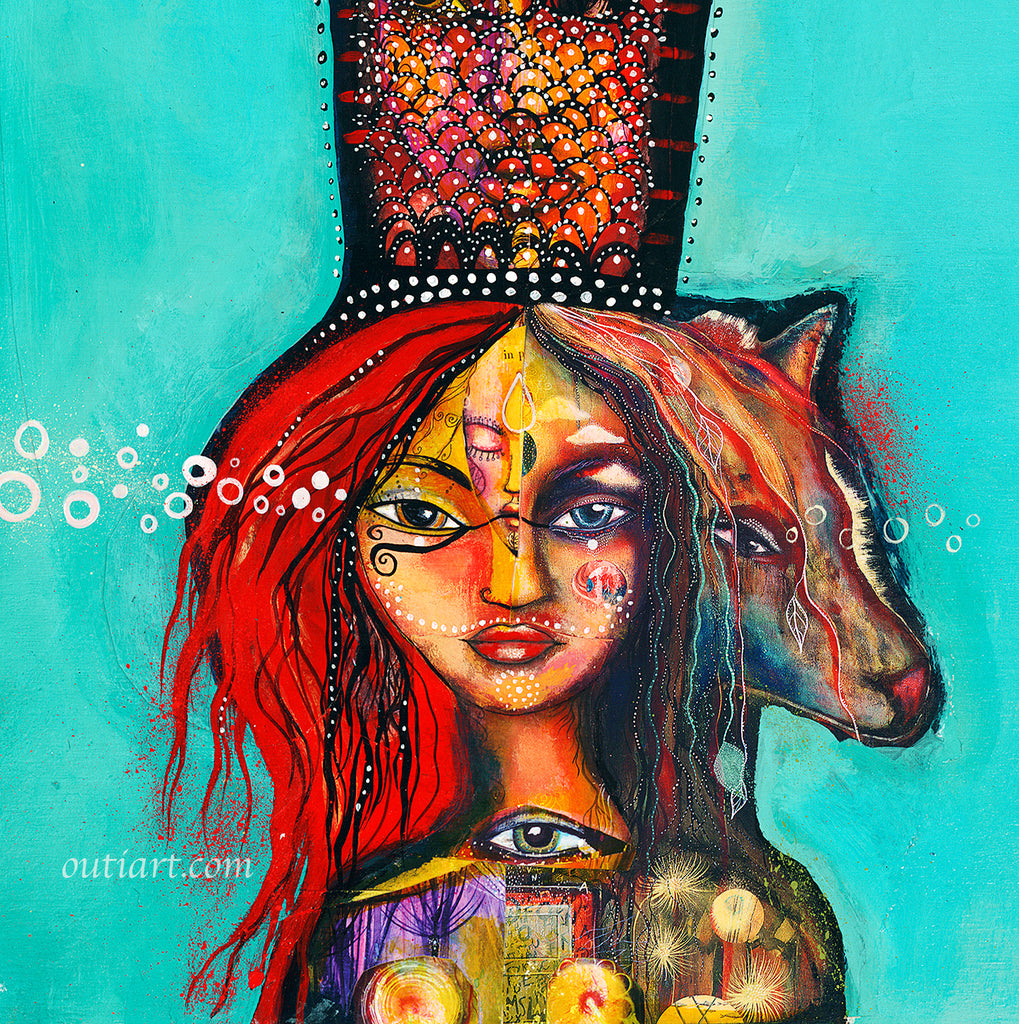 Medicine Woman, print on wood