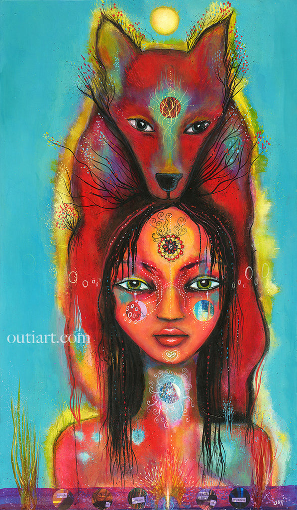 Wolf girl, print on wood