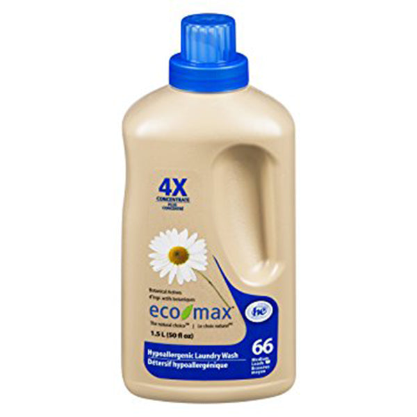 Eco-Max 4x Concentrated Hypoallergenic Laundry Wash, Scent Free, 1.5 L