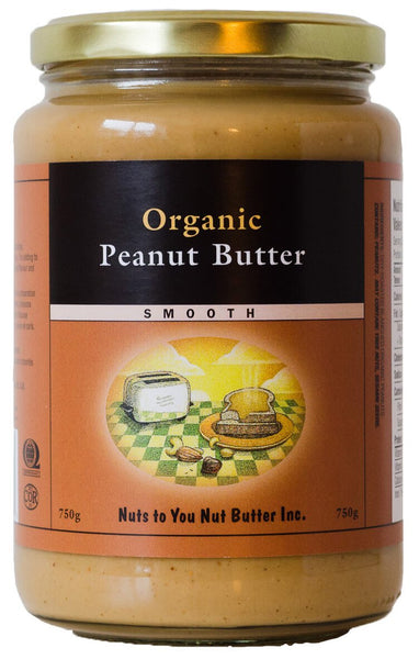 Nuts to You Organic Peanut Butter, Smooth, 750 g