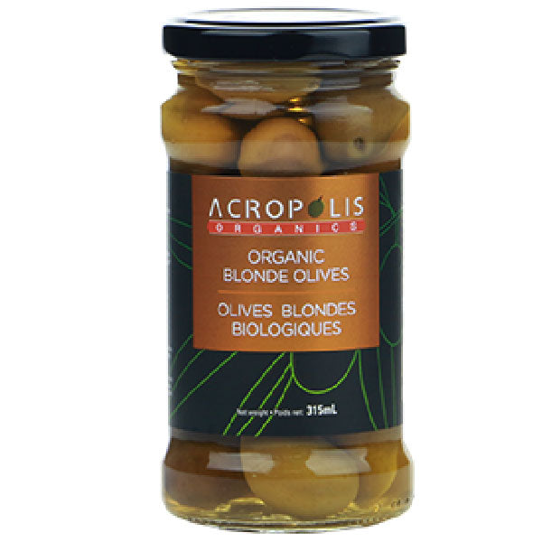 Acropolis Organic Pitted Blonde Olives, 315mL