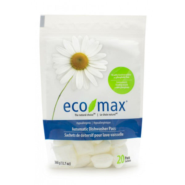 Eco Max Automatic Dishwasher Pacs, 20 pacs