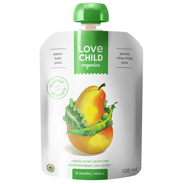 Love Child Organic Pears, Kale & Peas Puree, 128 mL