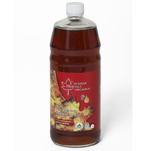 Canadian Heritage Organics Grade A Amber Organic Maple Syrup Rich, 1L