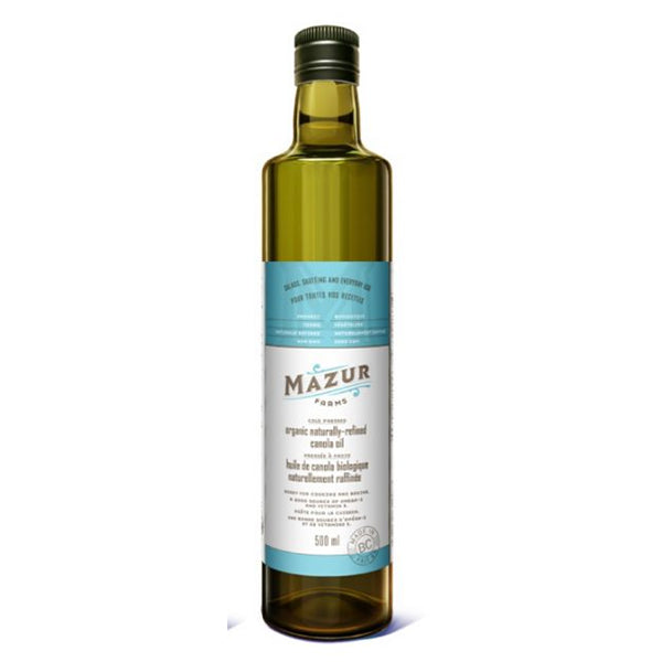 Mazur Organic Cold-Pressed Canola Oil (non-GMO, local), 500 mL
