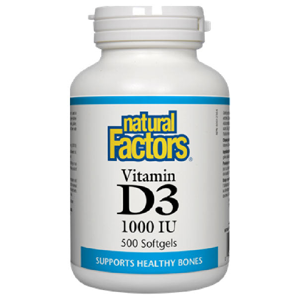 Natural Factors Vitamin D3, 1000 IU, 500 capsules