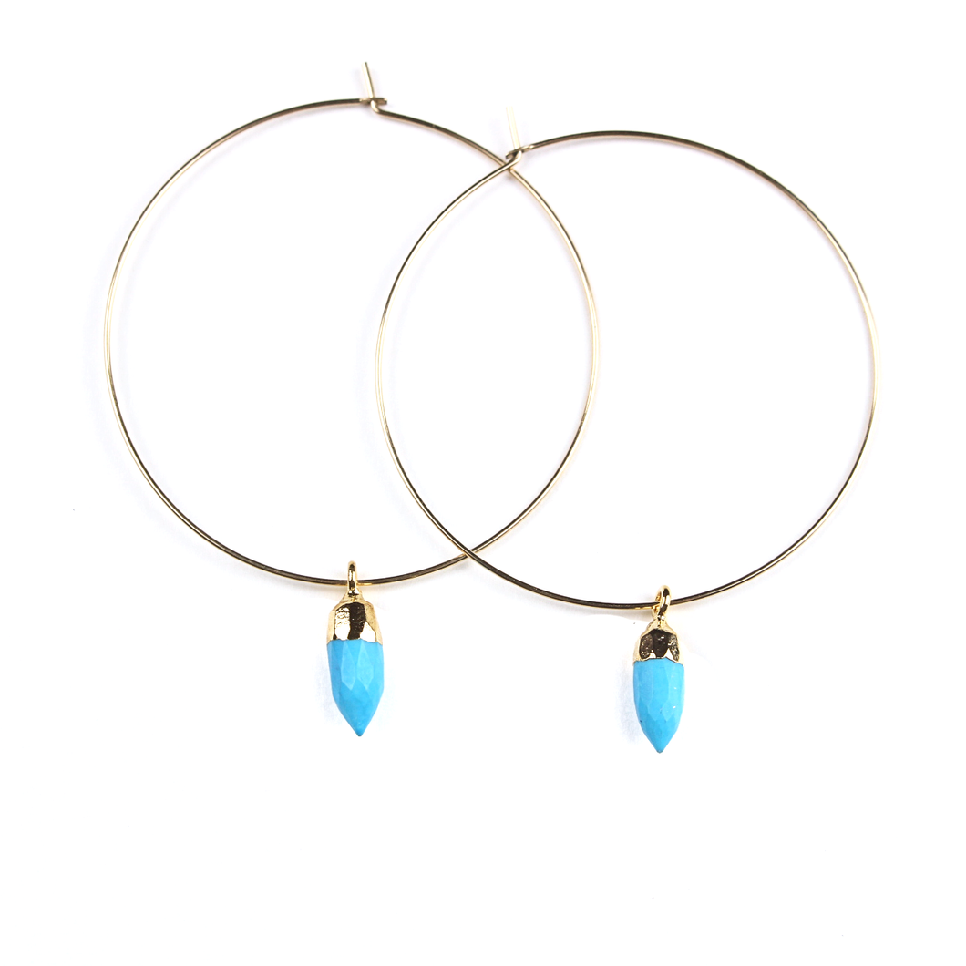 Chloe Gold Turquoise Hoops