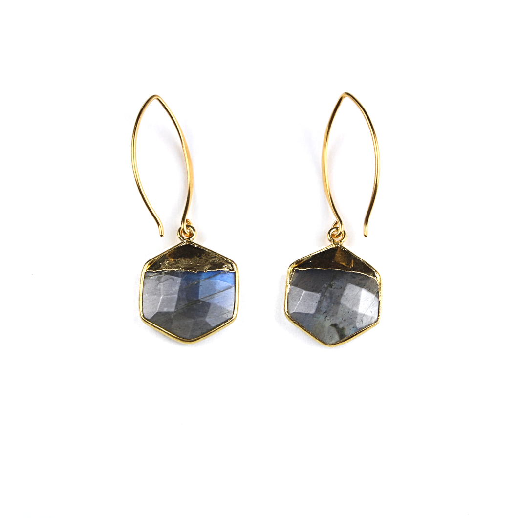 Mia Gold Labradorite Hexagon Earrings