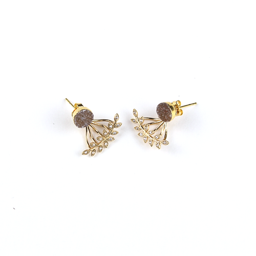 Lily Druzy Studs with Gold Diamond Ear Jackets