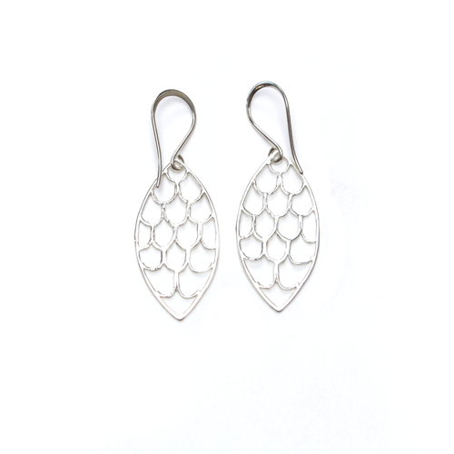 Finny Silver Marquis Scale Earrings